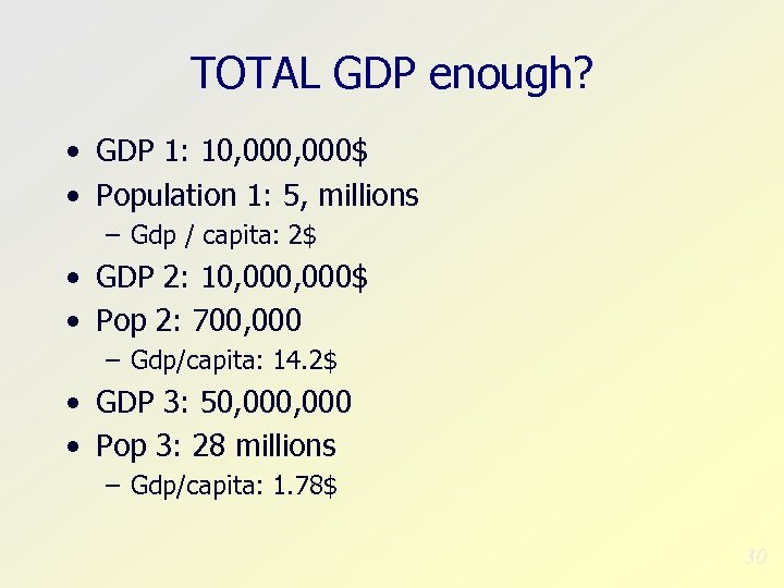 TOTAL GDP enough? • GDP 1: 10, 000$ • Population 1: 5, millions –