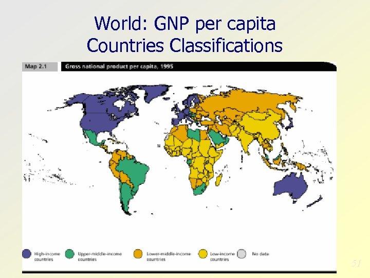 World: GNP per capita Countries Classifications 51