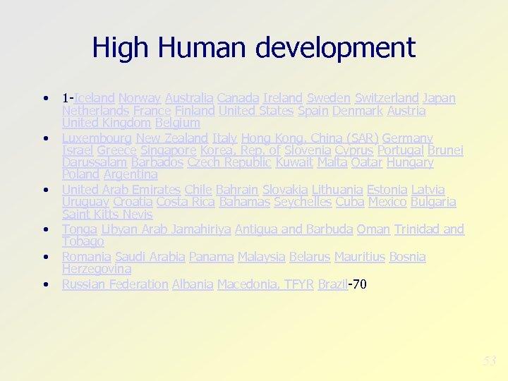 High Human development • • • 1 -Iceland Norway Australia Canada Ireland Sweden Switzerland