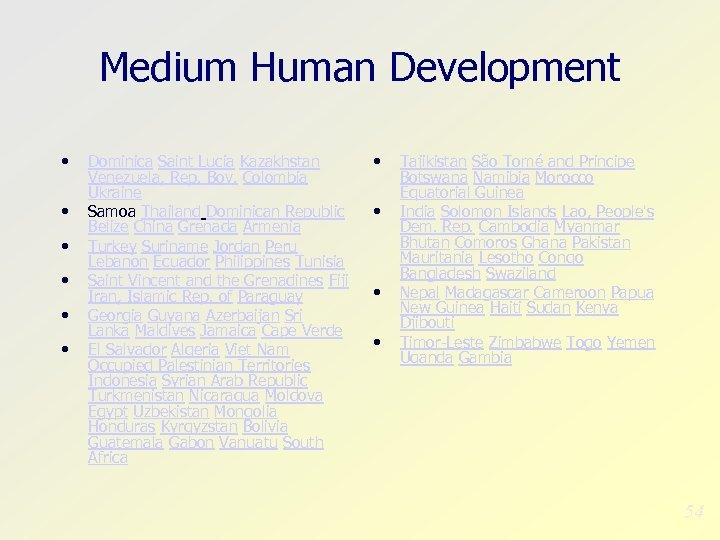 Medium Human Development • • • Dominica Saint Lucia Kazakhstan Venezuela, Rep. Bov. Colombia