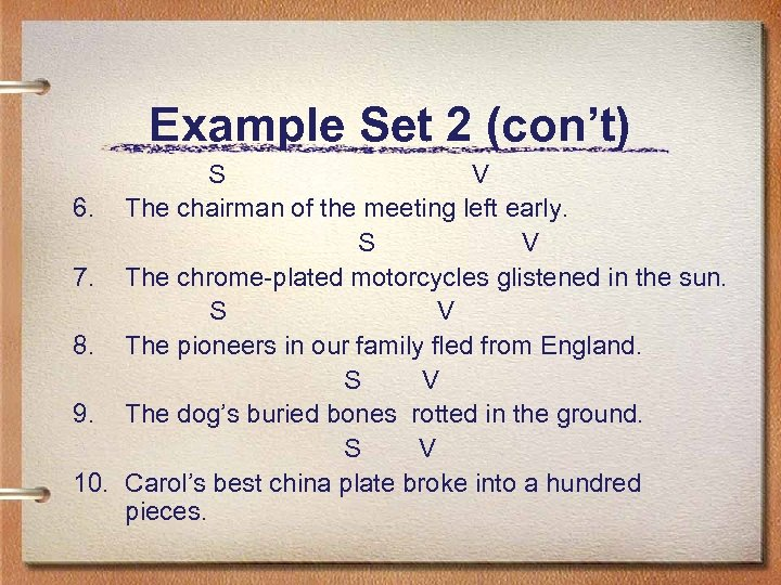 Example Set 2 (con't) S V 6. The chairman of the meeting left early.