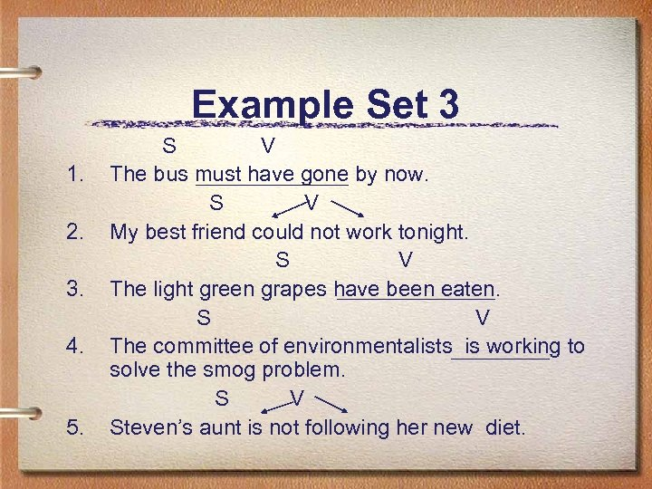 Example Set 3 1. 2. 3. 4. 5. S V The bus must have