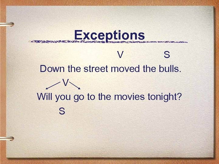 Exceptions V S Down the street moved the bulls. V Will you go to