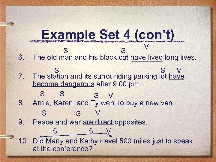 Example Set 4 (con't) 6. V S S The old man and his black