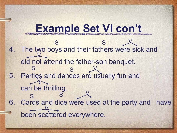 Example Set VI con't S S V 4. The two boys and their fathers
