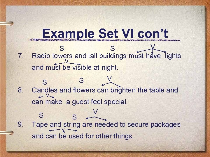 Example Set VI con't 7. V S S Radio towers and tall buildings must