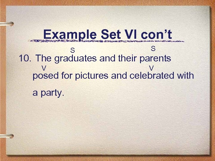 Example Set VI con't S S 10. The graduates and their parents V V