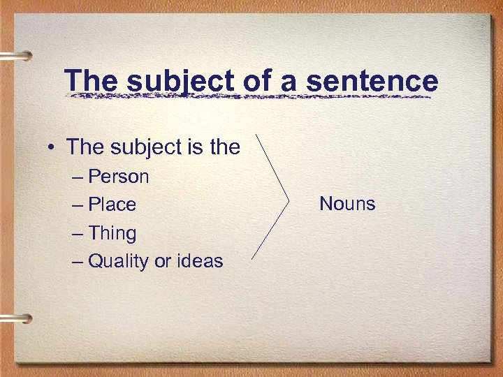 The subject of a sentence • The subject is the – Person – Place