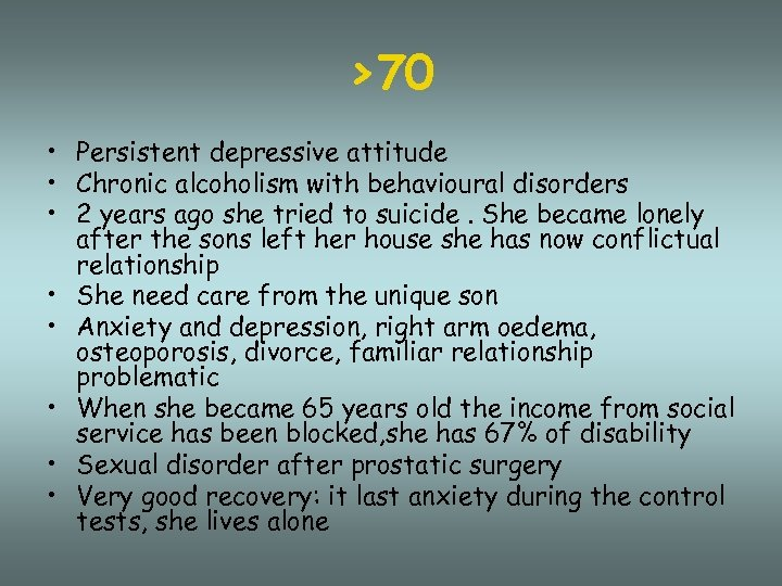 >70 • Persistent depressive attitude • Chronic alcoholism with behavioural disorders • 2 years