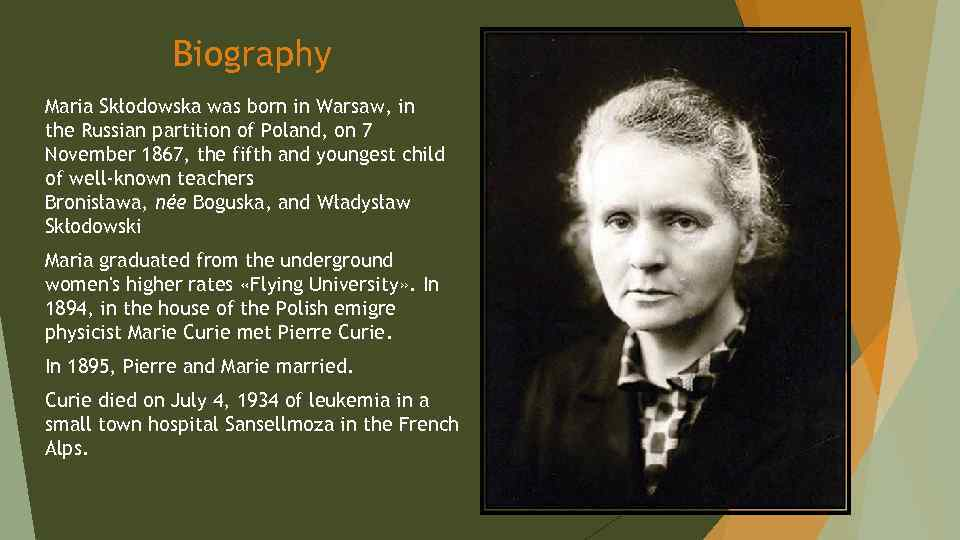 a biography of marie curie a polish physicist Marie curie was a physicist and chemist, who was world renowned for her work on radioactivity she also was the winner of two nobel prize read this biography to get info about her life and profile.