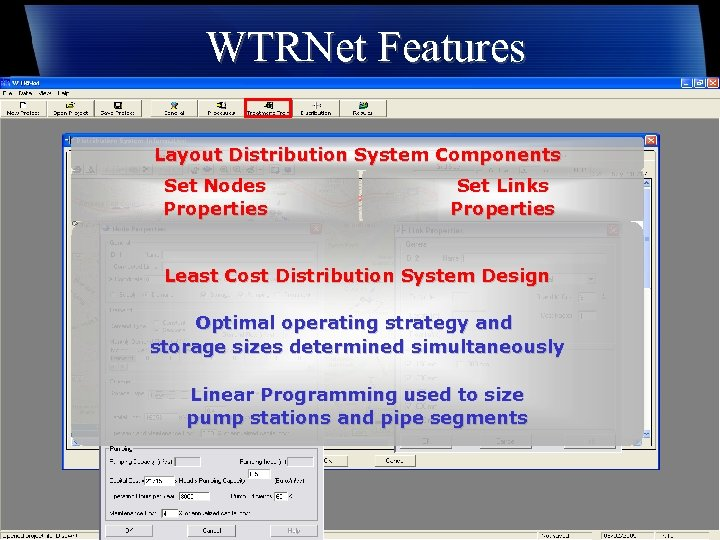 WTRNet Features Layout Distribution System Components Set Nodes Properties Set Links Properties Least Cost