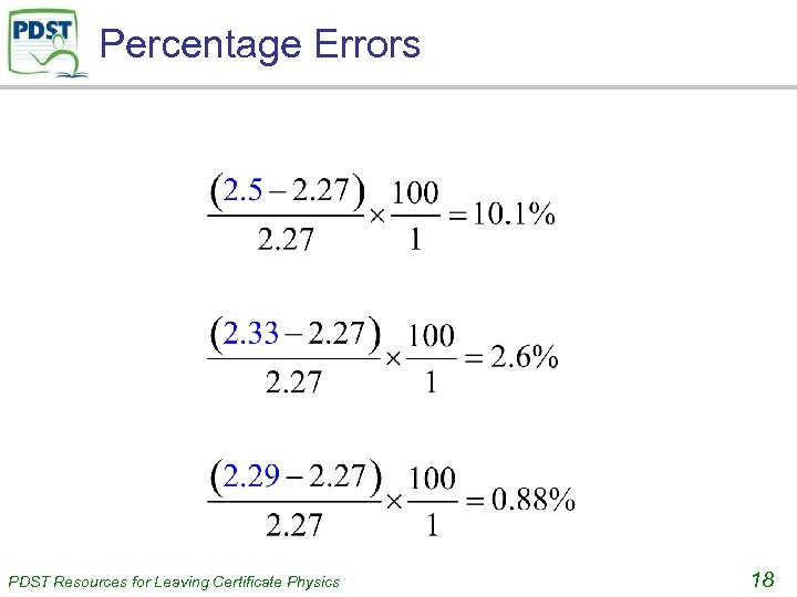 Percentage Errors PDST Resources for Leaving Certificate Physics 18