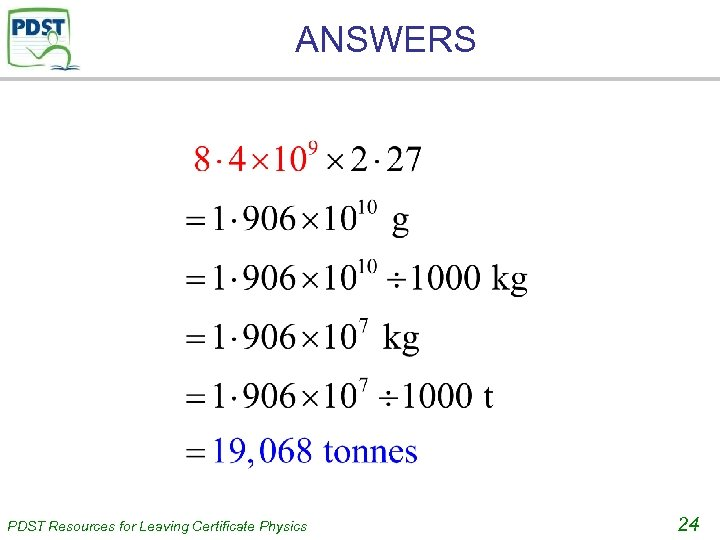 ANSWERS PDST Resources for Leaving Certificate Physics 24