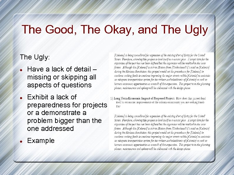 The Good, The Okay, and The Ugly: Have a lack of detail – missing