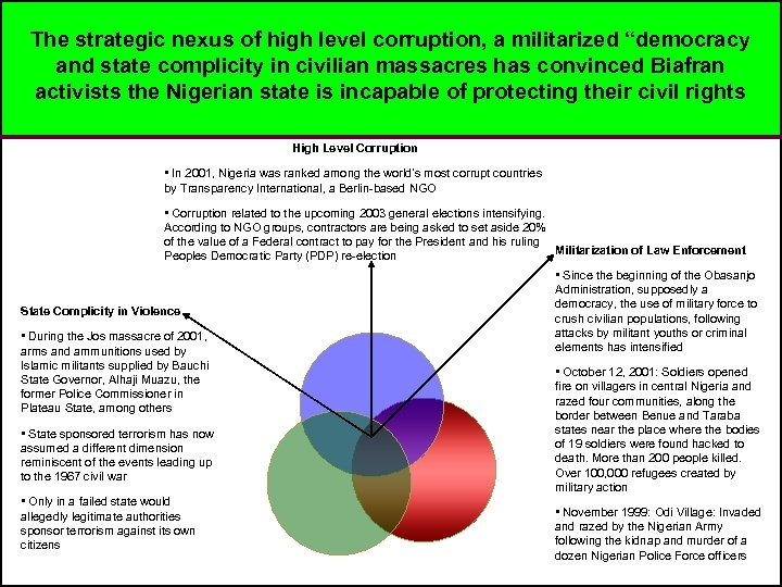"The strategic nexus of high level corruption, a militarized ""democracy and state complicity in"