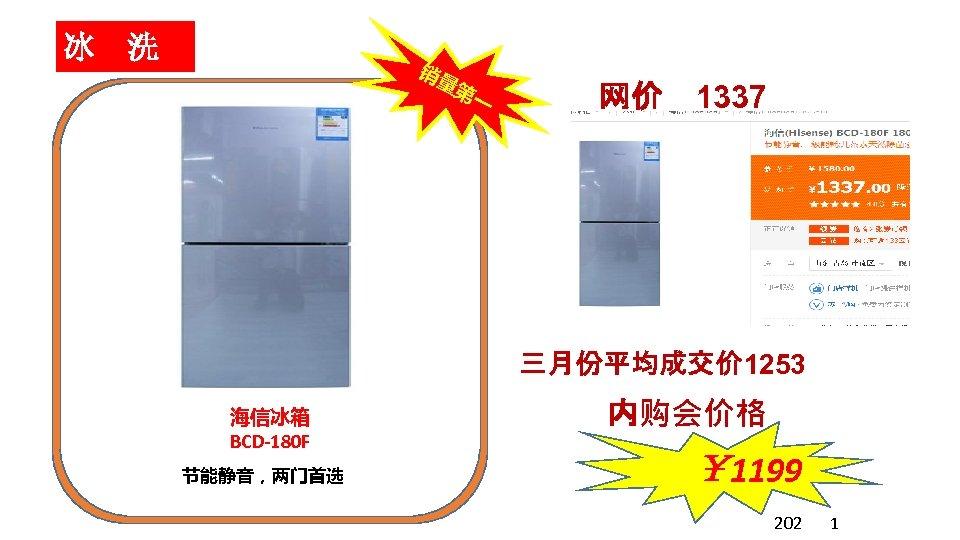 冰 洗 销量 第一 网价 1337 三月份平均成交价 1253 海信冰箱 BCD-180 F 节能静音,两门首选 内购会价格 ¥