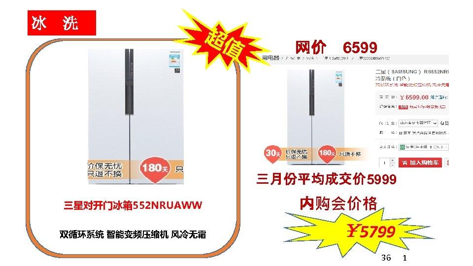冰 洗 超值 网价 6599 三月份平均成交价 5999 三星对开门冰箱 552 NRUAWW 双循环系统 智能变频压缩机 风冷无霜 内购会价格