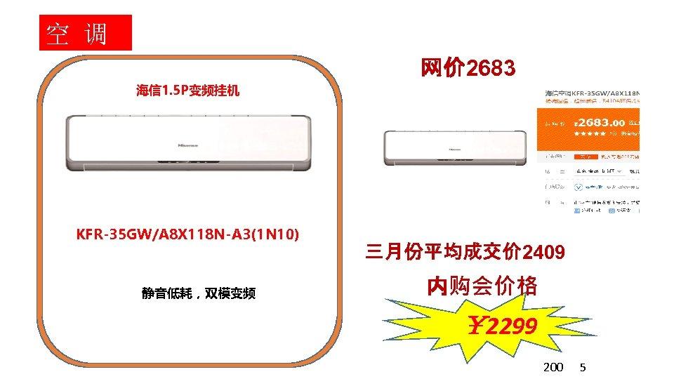 空 调 网价 2683 海信 1. 5 P变频挂机 KFR-35 GW/A 8 X 118 N-A