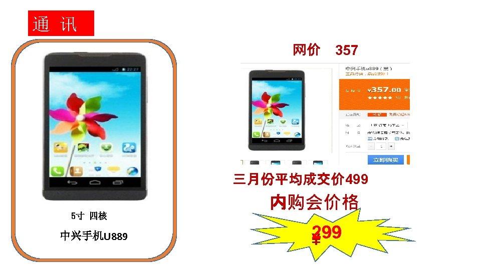通 讯 网价 357 三月份平均成交价 499 内购会价格 5寸 四核 中兴手机U 889 299 ¥
