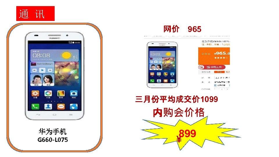 通 讯 网价 965 三月份平均成交价 1099 内购会价格 华为手机 G 660 -L 075 899 ¥