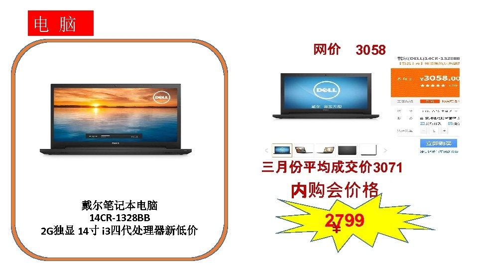 电 脑 网价 3058 三月份平均成交价 3071 内购会价格 戴尔笔记本电脑 14 CR-1328 BB 2 G独显 14寸