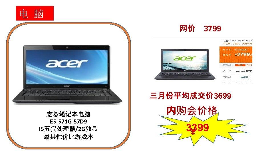 电 脑 网价 3799 三月份平均成交价 3699 宏碁笔记本电脑 E 5 -571 G-57 D 9 I