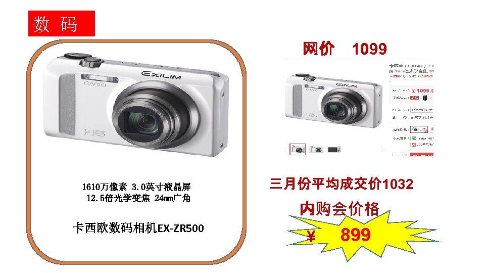 数 码 网价 1610万像素 3. 0英寸液晶屏 12. 5倍光学变焦 24 mm广角 卡西欧数码相机EX-ZR 500 1099 三月份平均成交价