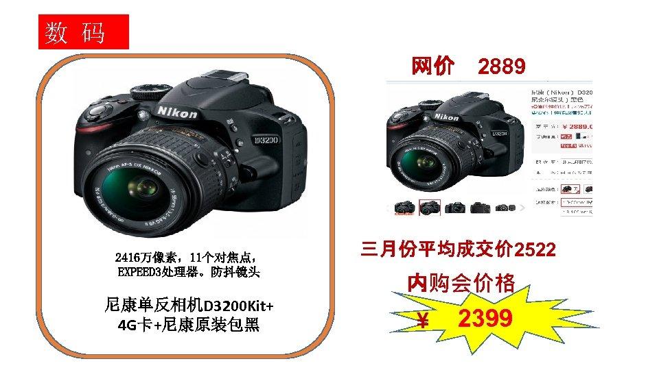 数 码 网价 2416万像素,11个对焦点, EXPEED 3处理器。防抖镜头 尼康单反相机D 3200 Kit+ 4 G卡+尼康原装包黑 2889 三月份平均成交价 2522