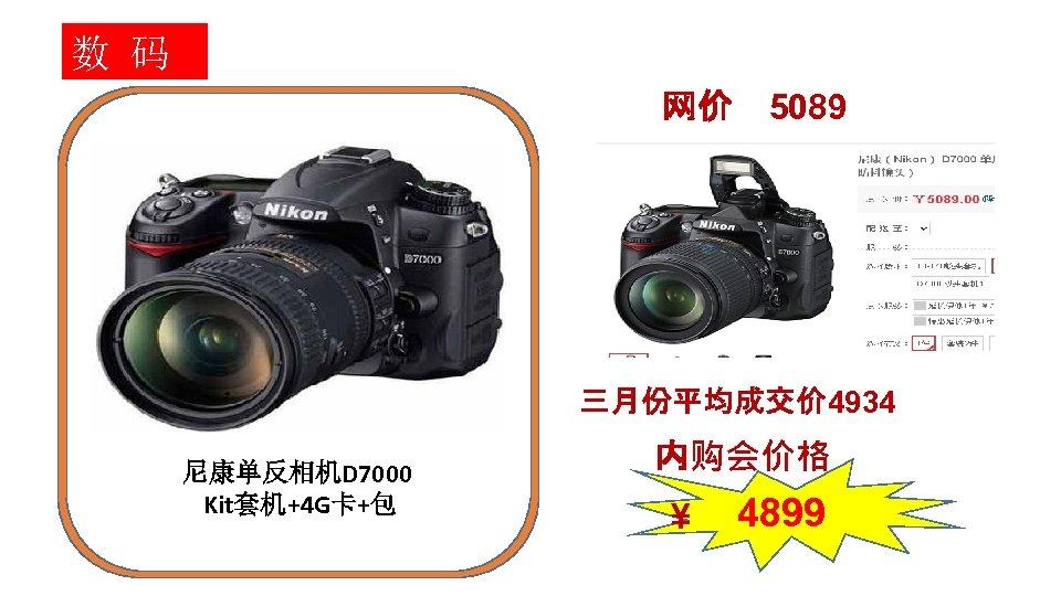 数 码 网价 5089 三月份平均成交价 4934 尼康单反相机D 7000 Kit套机+4 G卡+包 内购会价格 ¥ 4899