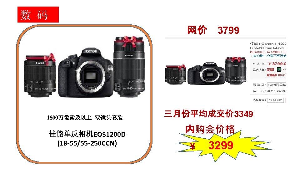 数 码 网价 1800万像素及以上 双镜头套装 佳能单反相机EOS 1200 D (18 -55/55 -250 CCN) 3799 三月份平均成交价