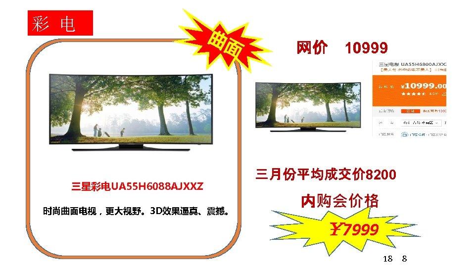 彩 电 曲面 三星彩电UA 55 H 6088 AJXXZ 时尚曲面电视,更大视野。3 D效果逼真、震撼。 网价 10999 三月份平均成交价 8200