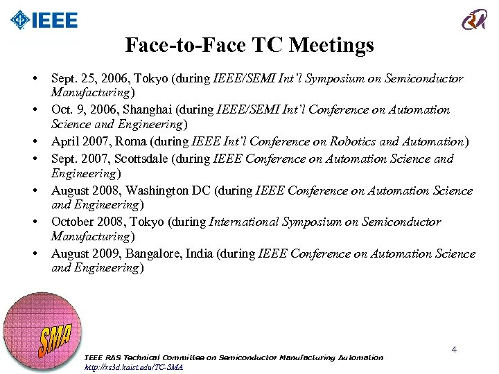 Face-to-Face TC Meetings • • Sept. 25, 2006, Tokyo (during IEEE/SEMI Int'l Symposium on