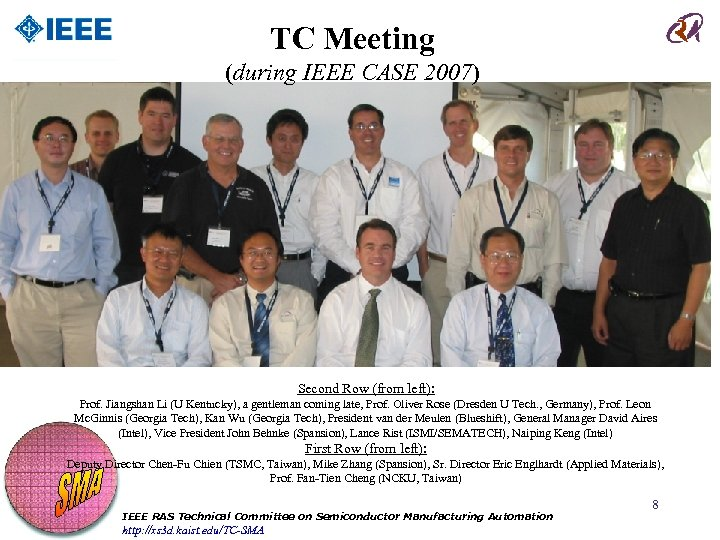 TC Meeting (during IEEE CASE 2007) Second Row (from left): Prof. Jiangshan Li (U