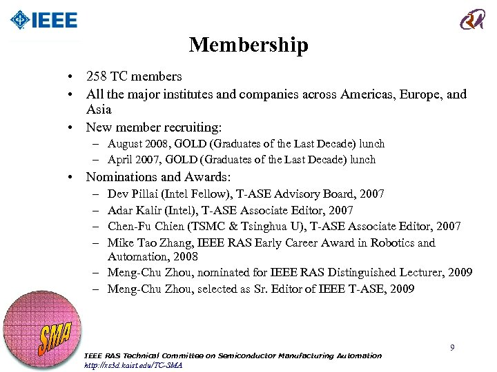 Membership • 258 TC members • All the major institutes and companies across Americas,