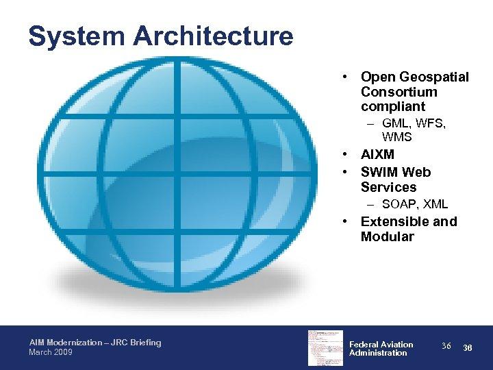 System Architecture • Open Geospatial Consortium compliant – GML, WFS, WMS • AIXM •