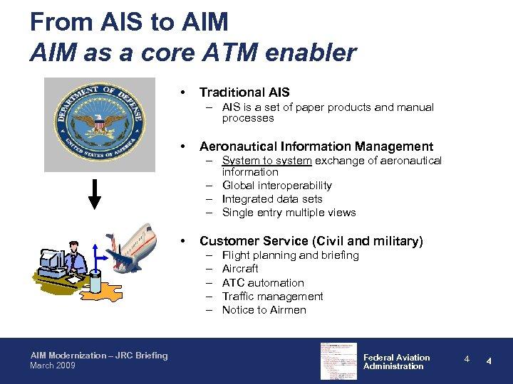 From AIS to AIM as a core ATM enabler • Traditional AIS – AIS