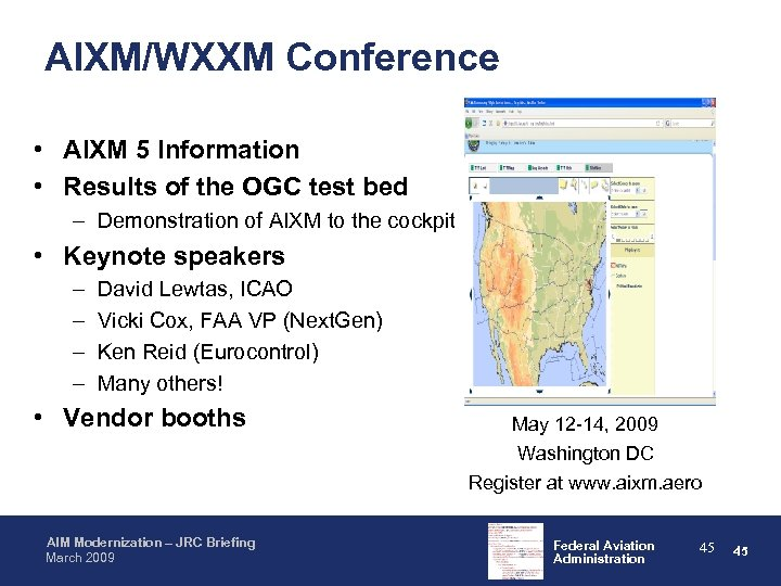 AIXM/WXXM Conference • AIXM 5 Information • Results of the OGC test bed –