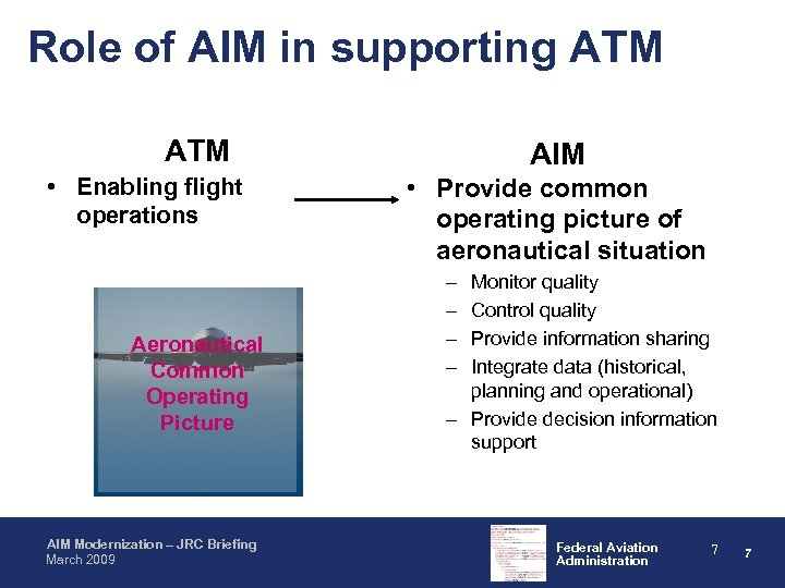 Role of AIM in supporting ATM • Enabling flight operations Aeronautical Common Operating Picture
