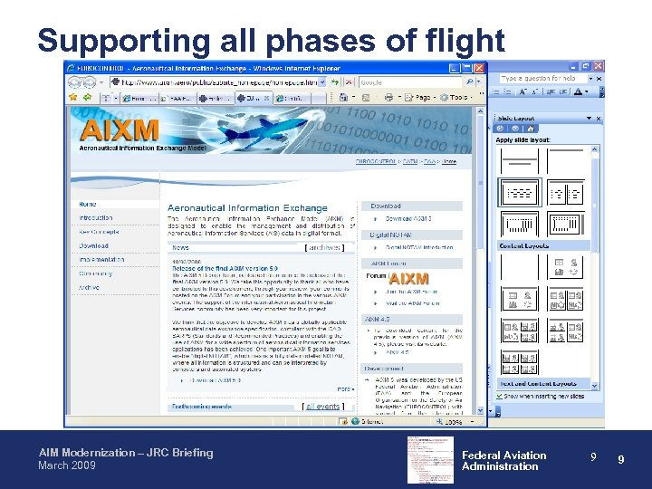 Supporting all phases of flight AIM Modernization – JRC Briefing March 2009 Federal Aviation