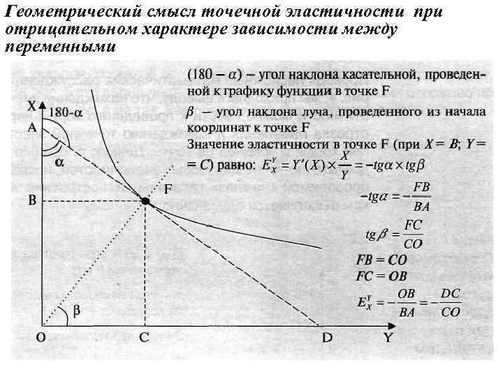 Геометрический смысл точечной эластичности при отрицательном характере зависимости между переменными