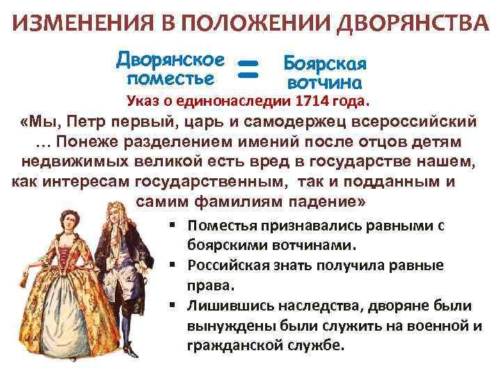 ИЗМЕНЕНИЯ В ПОЛОЖЕНИИ ДВОРЯНСТВА Дворянское поместье = Боярская вотчина Указ о единонаследии 1714 года.