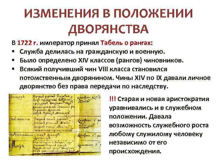 ИЗМЕНЕНИЯ В ПОЛОЖЕНИИ ДВОРЯНСТВА В 1722 г. император принял Табель о рангах: § Cлужба