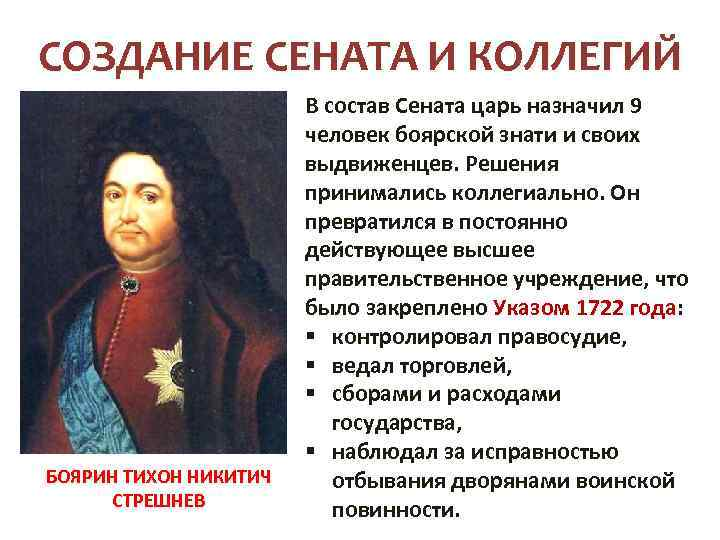 СОЗДАНИЕ СЕНАТА И КОЛЛЕГИЙ БОЯРИН ТИХОН НИКИТИЧ СТРЕШНЕВ В состав Сената царь назначил 9