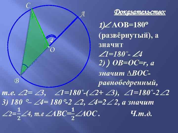 C А 3 4 1 ●О 2 B Доказательство: 1) АОВ=180 (развёрнутый), а значит