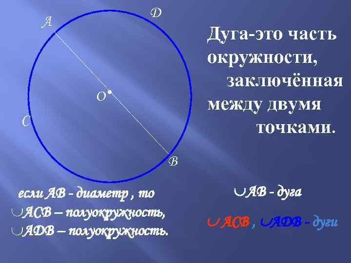 D А Дуга-это часть окружности, заключённая между двумя точками. О● C B если АВ