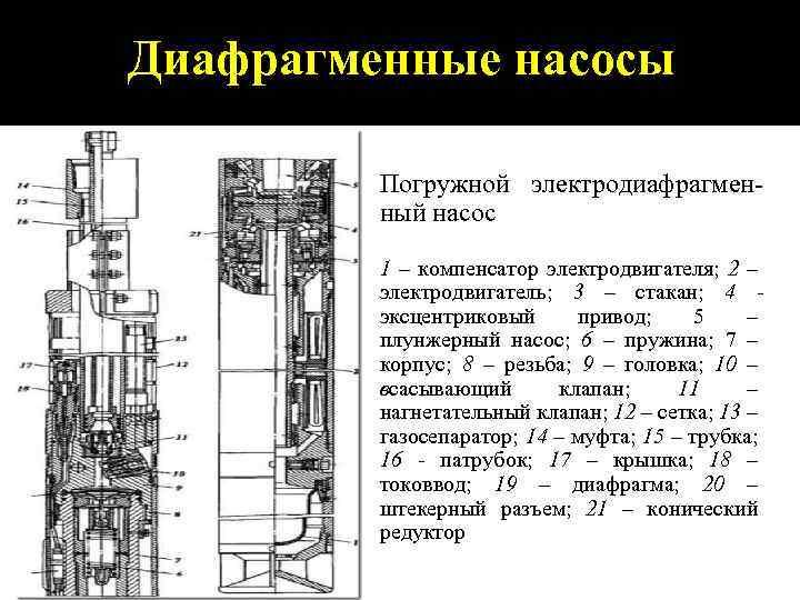 Диафрагменные насосы Погружной электродиафрагменный насос 1 – компенсатор электродвигателя; 2 – электродвигатель; 3 –