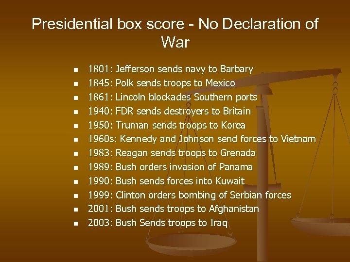 Presidential box score - No Declaration of War n n n 1801: Jefferson sends