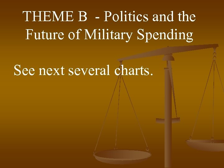 THEME B - Politics and the Future of Military Spending See next several charts.