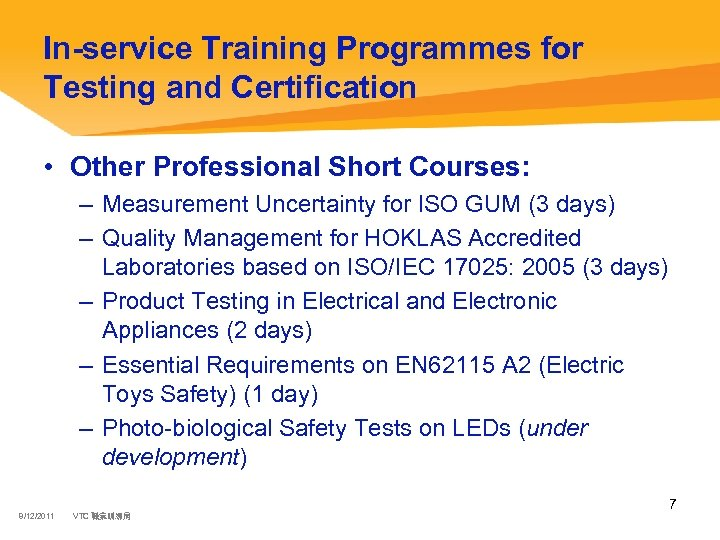 In-service Training Programmes for Testing and Certification • Other Professional Short Courses: – Measurement