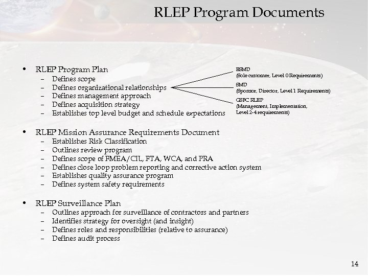 RLEP Program Documents • RLEP Program Plan – – – Defines scope Defines organizational